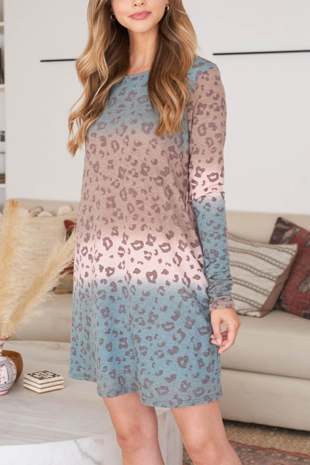Riah Fashion Long-Sleeve-Ombre-Leopard-Dress-With-Side-Pocket - Front Cropped Image