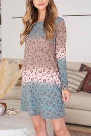 Riah Fashion Long-Sleeve-Ombre-Leopard-Dress-With-Side-Pocket - Front cropped