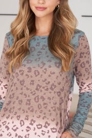 Riah Fashion Long-Sleeve-Ombre-Leopard-Dress-With-Side-Pocket - Side cropped