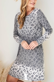 Riah Fashion Long-Sleeve-Ombre-Leopard-Dress-With-Side-Pocket - Front full body
