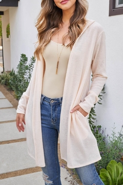 Riah Fashion Long-Sleeve-Open-Front-Angora-Hoodie-Cardigan - Product List Image