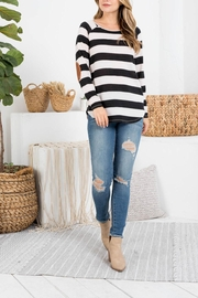 Riah Fashion Long-Sleeve-Stripe-Boat-Neck-Elbow-Patch-Top - Product Mini Image