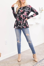 Riah Fashion Long-Sleeved-Floral-Cinch-Waist-Lace-Detail-Swing-Top - Product Mini Image
