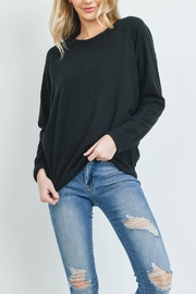 Riah Fashion Long-Sleeved-Solid-Hacci-Top - Front cropped