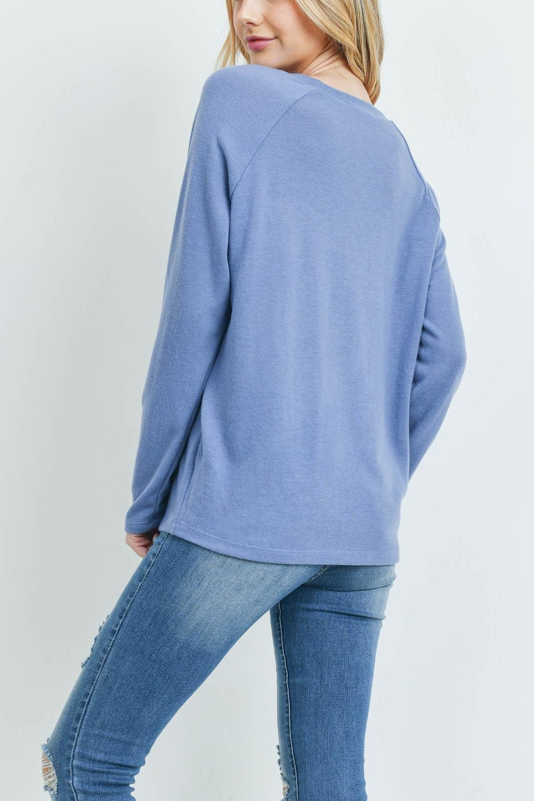 Riah Fashion Long-Sleeved-Solid-Hacci-Top - Side Cropped Image