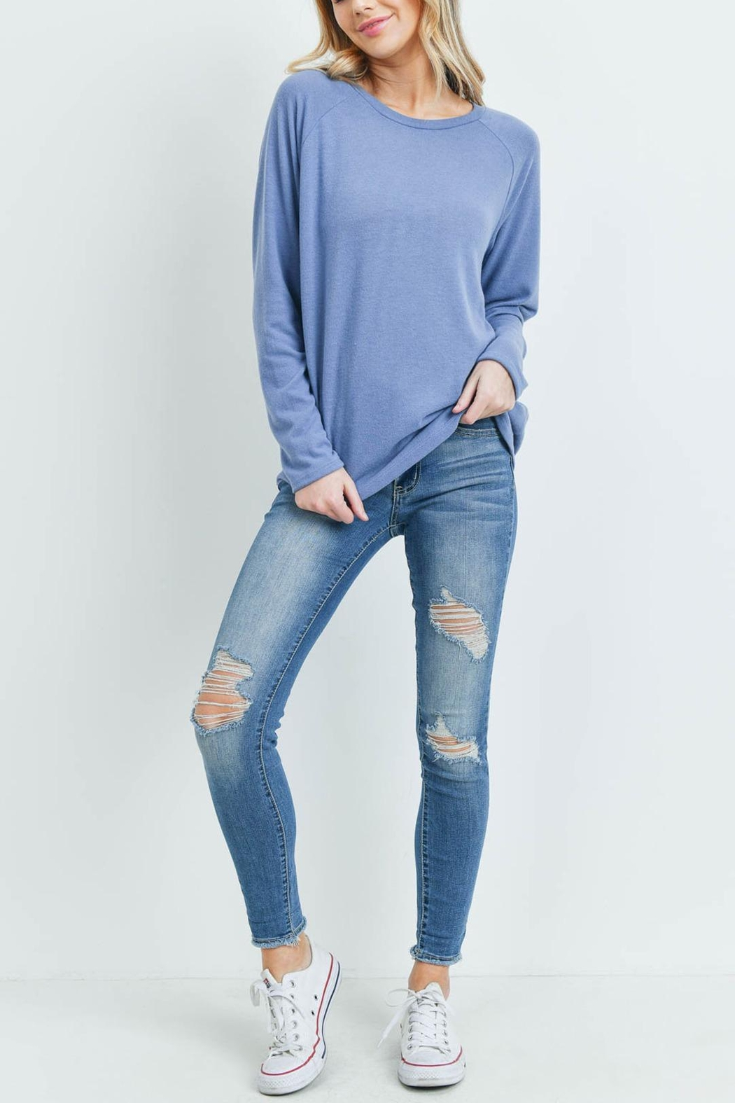 Riah Fashion Long-Sleeved-Solid-Hacci-Top - Back Cropped Image