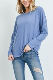 Riah Fashion Long-Sleeved-Solid-Hacci-Top - Front full body