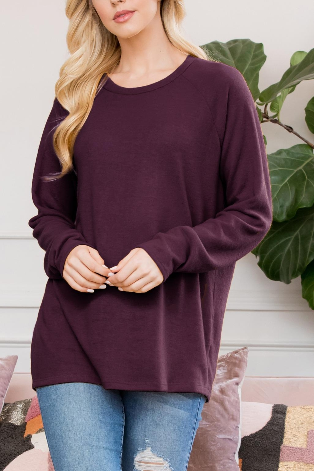 Riah Fashion Long-Sleeved-Solid-Hacci-Top - Front Cropped Image