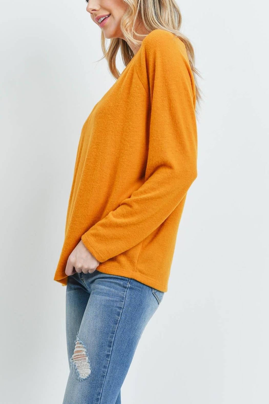Riah Fashion Long-Sleeved-Solid-Hacci-Top - Front Full Image