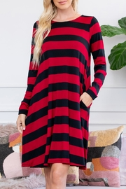 Riah Fashion Long-Sleeved Striped Pocket-Dress - Product Mini Image