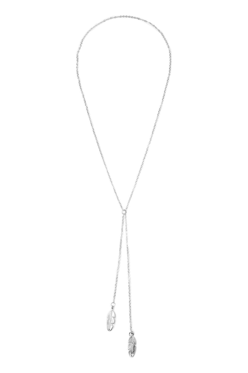 Riah Fashion Longline Leaf Necklace - Front Cropped Image
