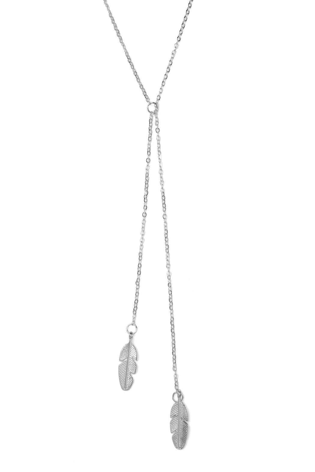 Riah Fashion Longline Leaf Necklace - Front Full Image