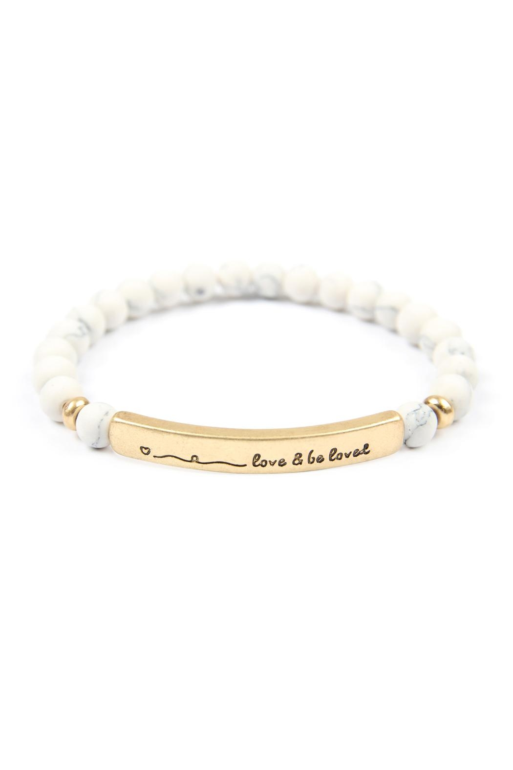 Riah Fashion Love-And-Be-Loved-Natural-Stone-Stretch-Bracelet - Front Cropped Image