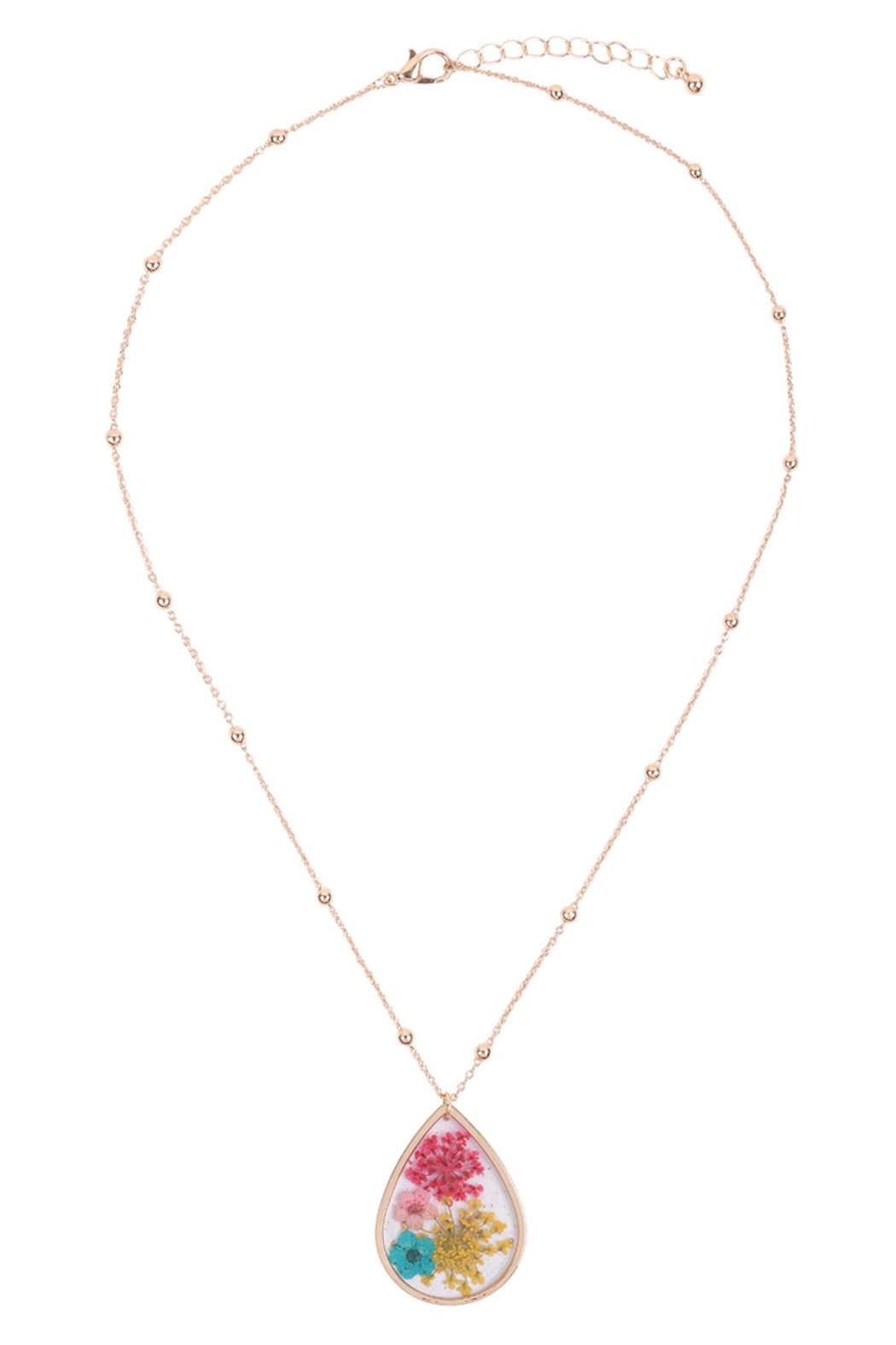 Riah Fashion Lower Teardrop Pendant Necklace - Side Cropped Image