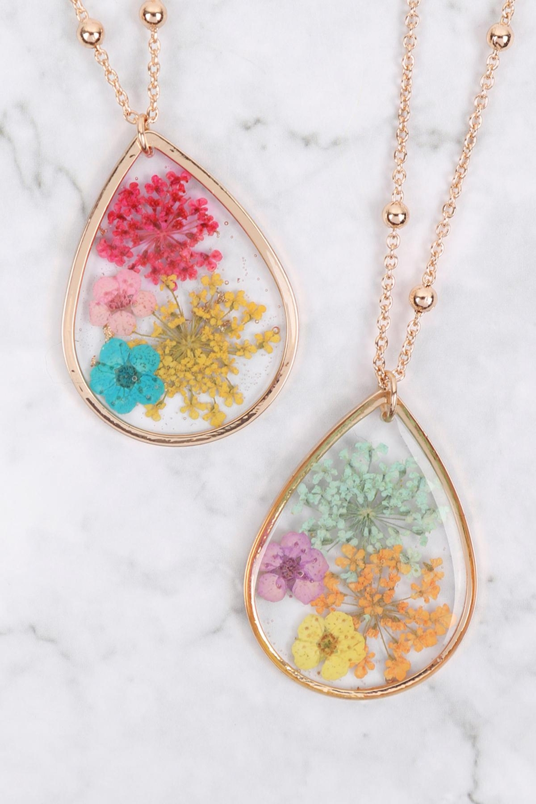 Riah Fashion Lower Teardrop Pendant Necklace - Front Full Image
