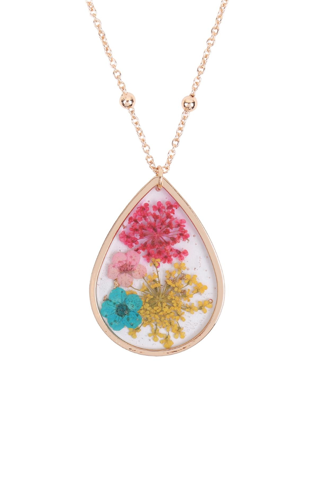 Riah Fashion Lower Teardrop Pendant Necklace - Front Cropped Image