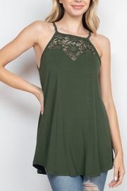 Riah Fashion Luxe-Rayon-Lace-Paneled-Sleeveless-High-Halter-Top - Product Mini Image
