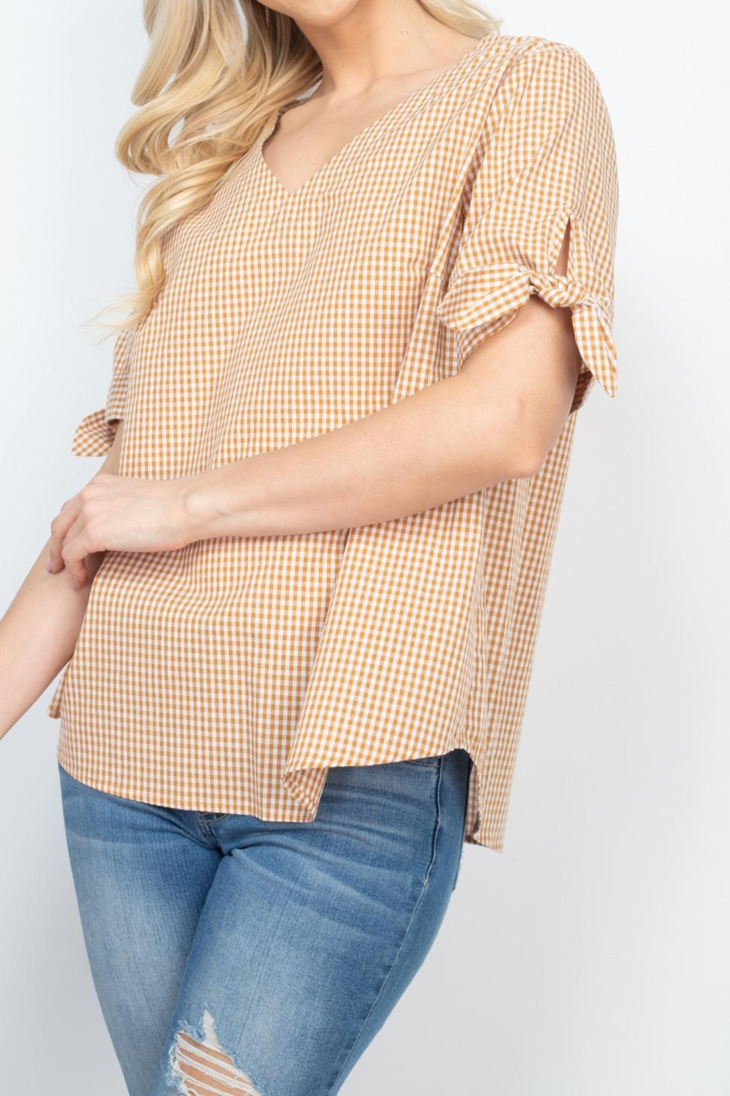 Riah Fashion Mary-Gold-Top - Back Cropped Image