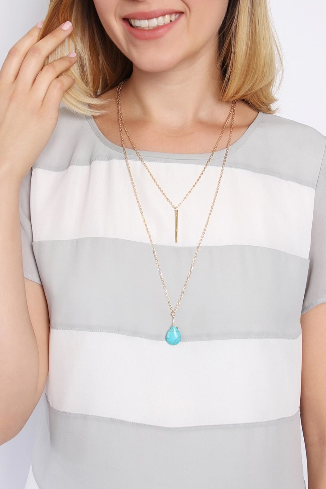 Riah Fashion Julia Matchstick Layer Necklace - Back Cropped Image