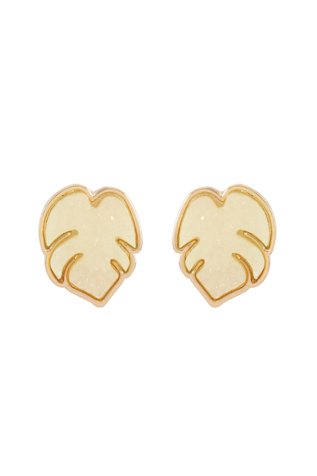 Riah Fashion Metal Druzy Palm Leaf Post Earrings - Front Cropped Image