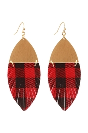 Riah Fashion Metal-Fabric Check-Fish Hook-Earrings - Front cropped