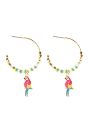 Riah Fashion Metal Fimo Tropical Parrot Earrings - Front cropped