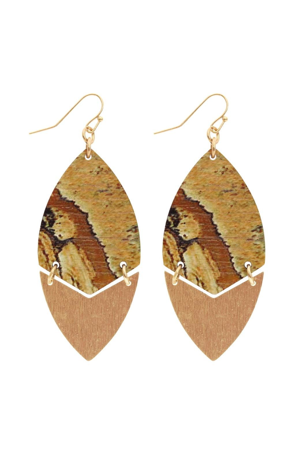 Riah Fashion Metal Semiwood-Fish-Hook Marquise-Earrings - Front Cropped Image