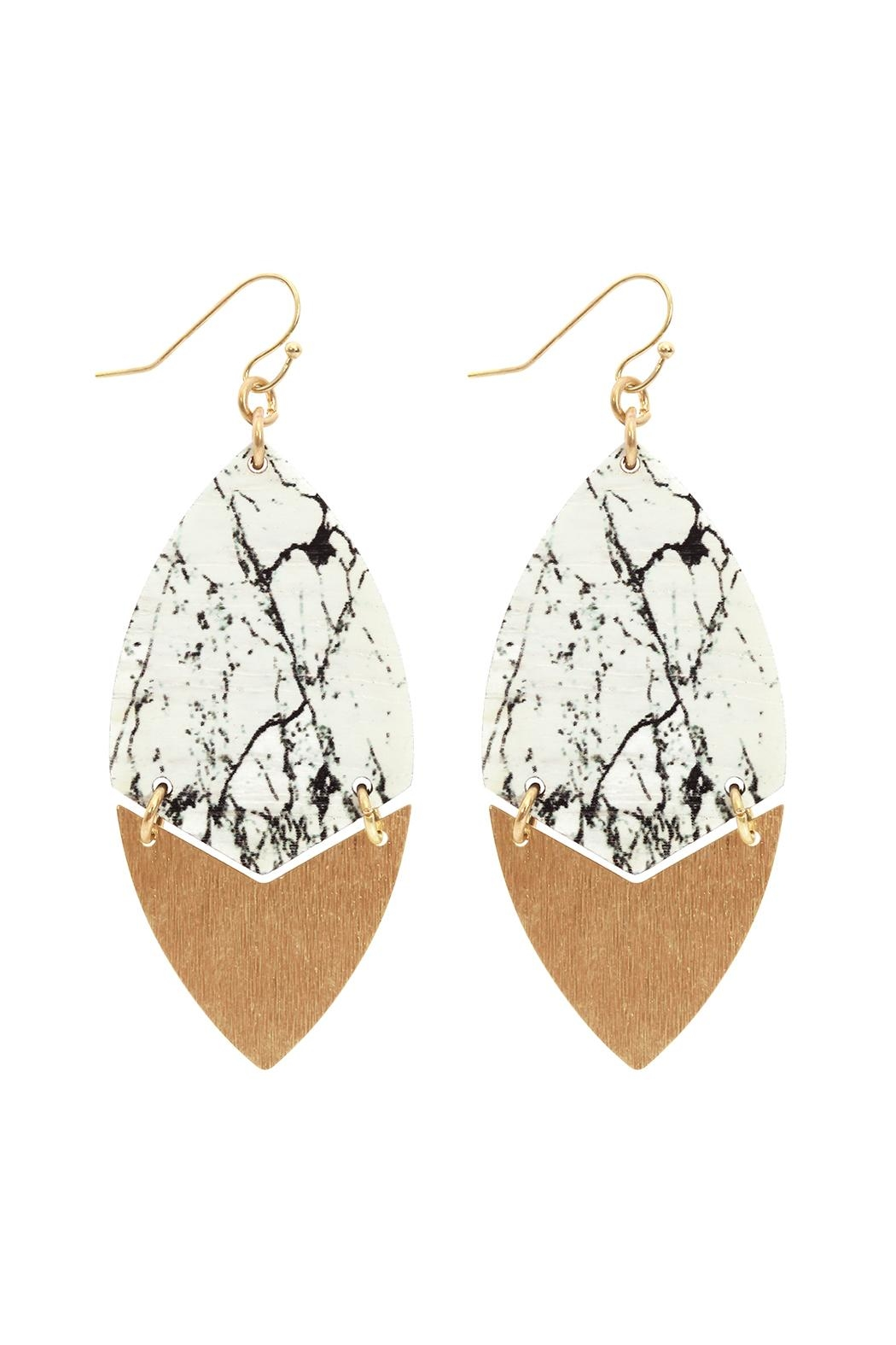 Riah Fashion Metal Semiwood-Fish-Hook Marquise-Earrings - Main Image