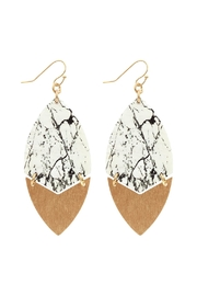 Riah Fashion Metal Semiwood-Fish-Hook Marquise-Earrings - Product Mini Image