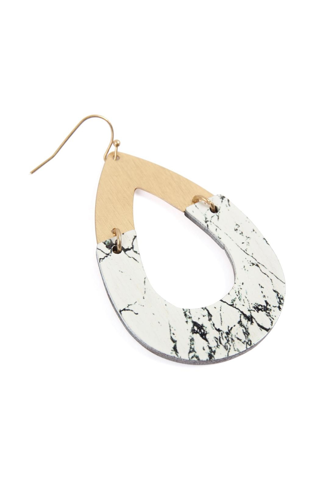 Riah Fashion Metal-Semiwood Open-Cut-Fish Hook-Teardrop-Earrings - Front Full Image