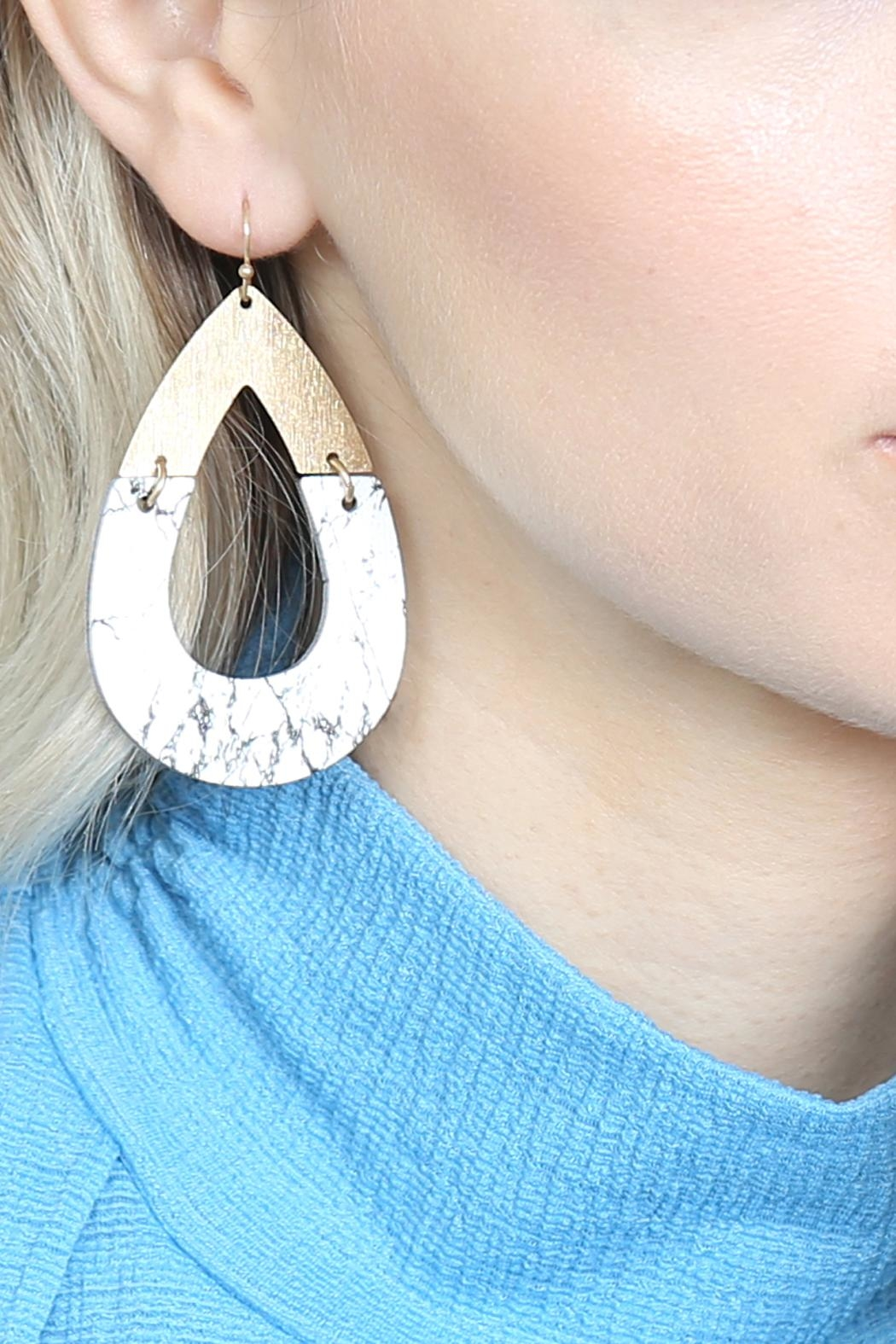 Riah Fashion Metal-Semiwood Open-Cut-Fish Hook-Teardrop-Earrings - Side Cropped Image