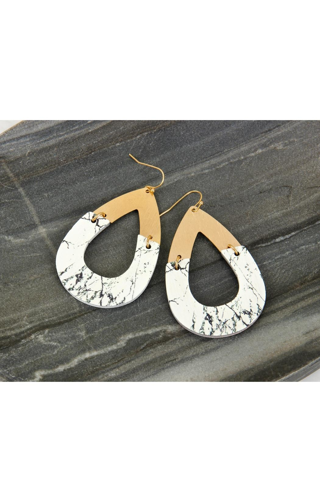 Riah Fashion Metal-Semiwood Open-Cut-Fish Hook-Teardrop-Earrings - Back Cropped Image