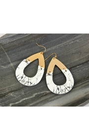 Riah Fashion Metal-Semiwood Open-Cut-Fish Hook-Teardrop-Earrings - Back cropped