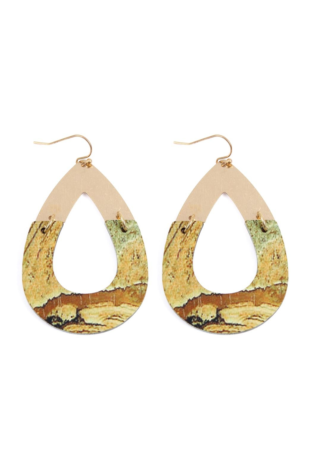 Riah Fashion Metal-Semiwood Open-Cut-Fish Hook-Teardrop-Earrings - Main Image