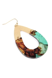 Riah Fashion Metal-Semiwood Open-Cut-Fish Hook-Teardrop-Earrings - Side cropped