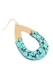 Riah Fashion Metal-Semiwood Open-Cut-Fish Hook-Teardrop-Earrings - Front full body