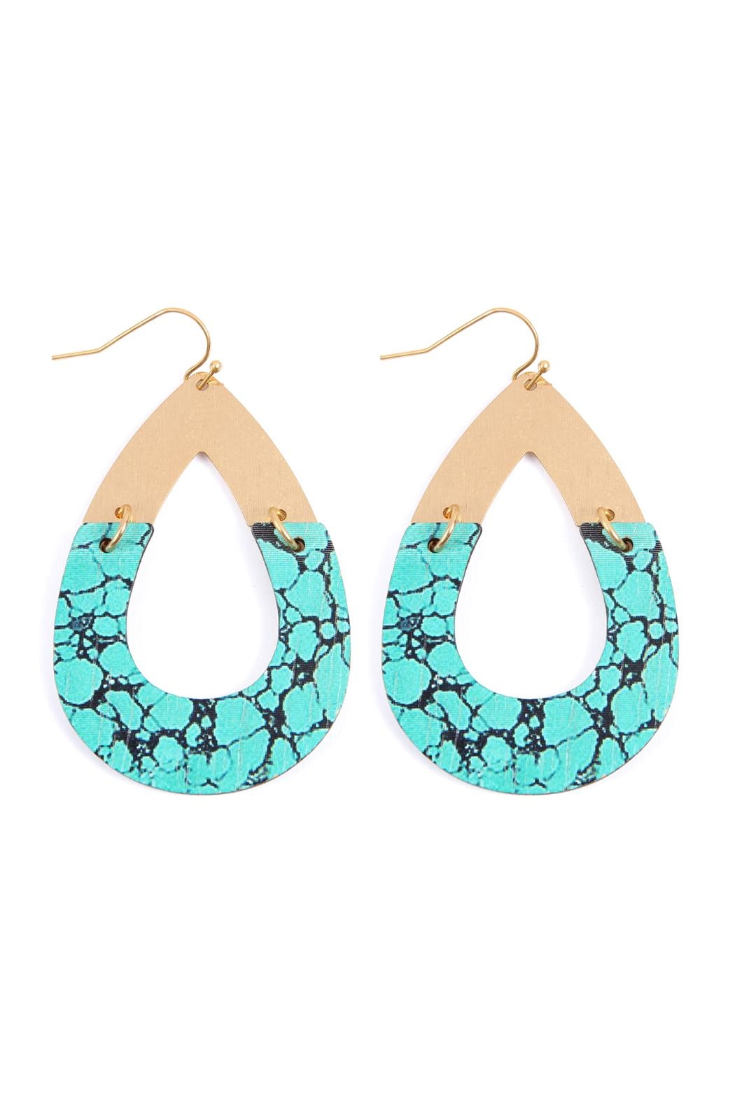 Riah Fashion Metal-Semiwood Open-Cut-Fish Hook-Teardrop-Earrings - Front Cropped Image