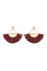 Riah Fashion Metal With Leather-Tassel-Earrings - Product Mini Image