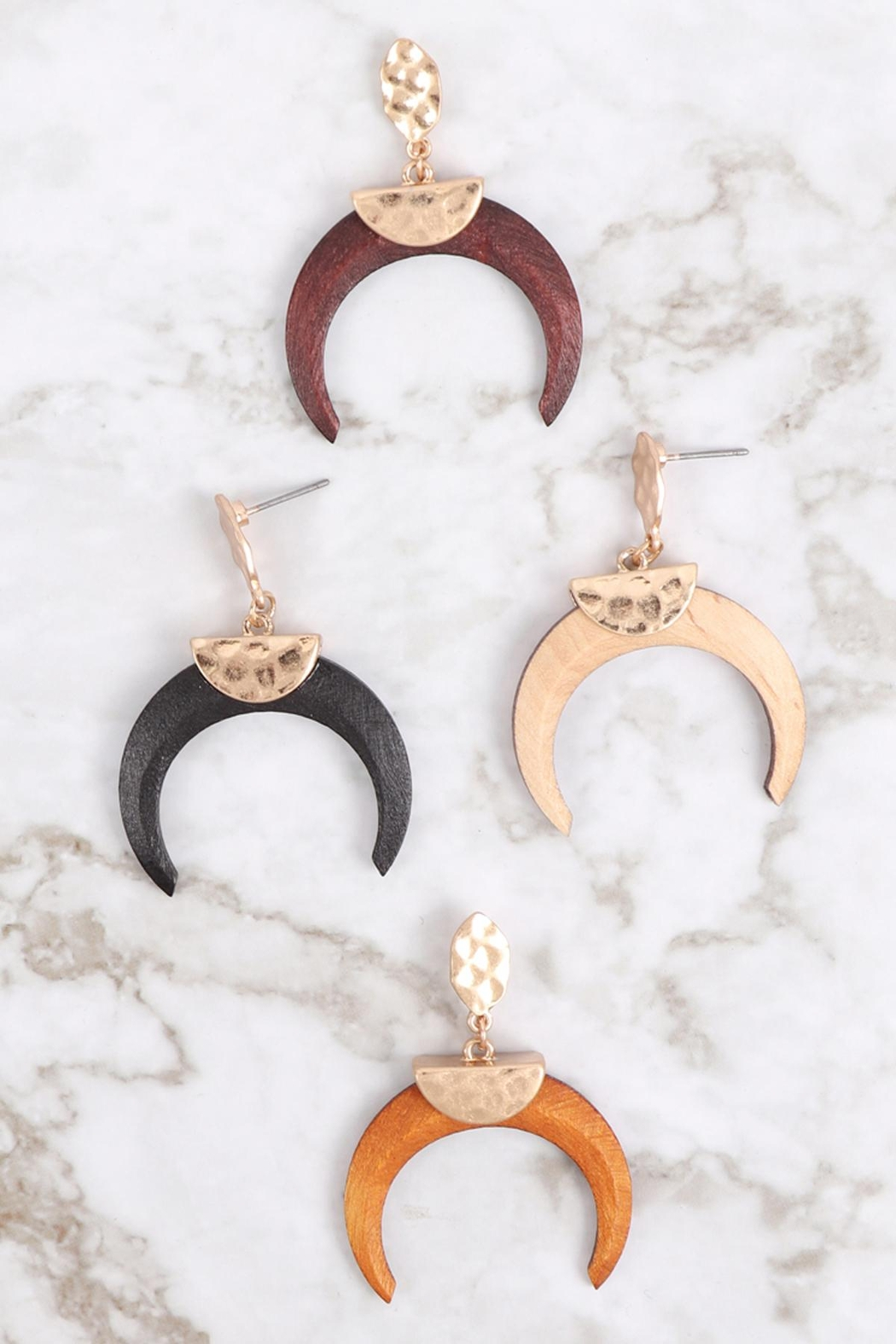 Riah Fashion Metal-With-Wood-Horn-Post-Earrings - Front Full Image