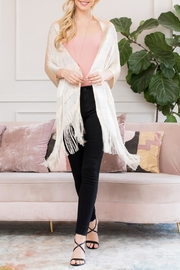 Riah Fashion Metallic Colored Fringe-Scarf - Front cropped