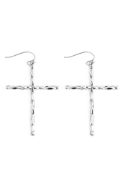 Riah Fashion Metallic Cross Earrings - Product Mini Image