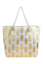 Riah Fashion Metallic Pineapple Printed Tote Bag - Product Mini Image