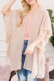 Riah Fashion Mid-Thigh-Ruffled Open-Front-Kimono - Product Mini Image