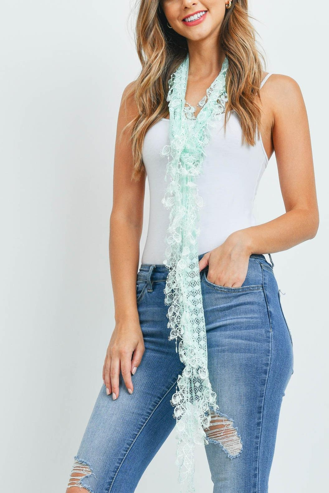 Riah Fashion Mint Lace Scarf - Front Full Image
