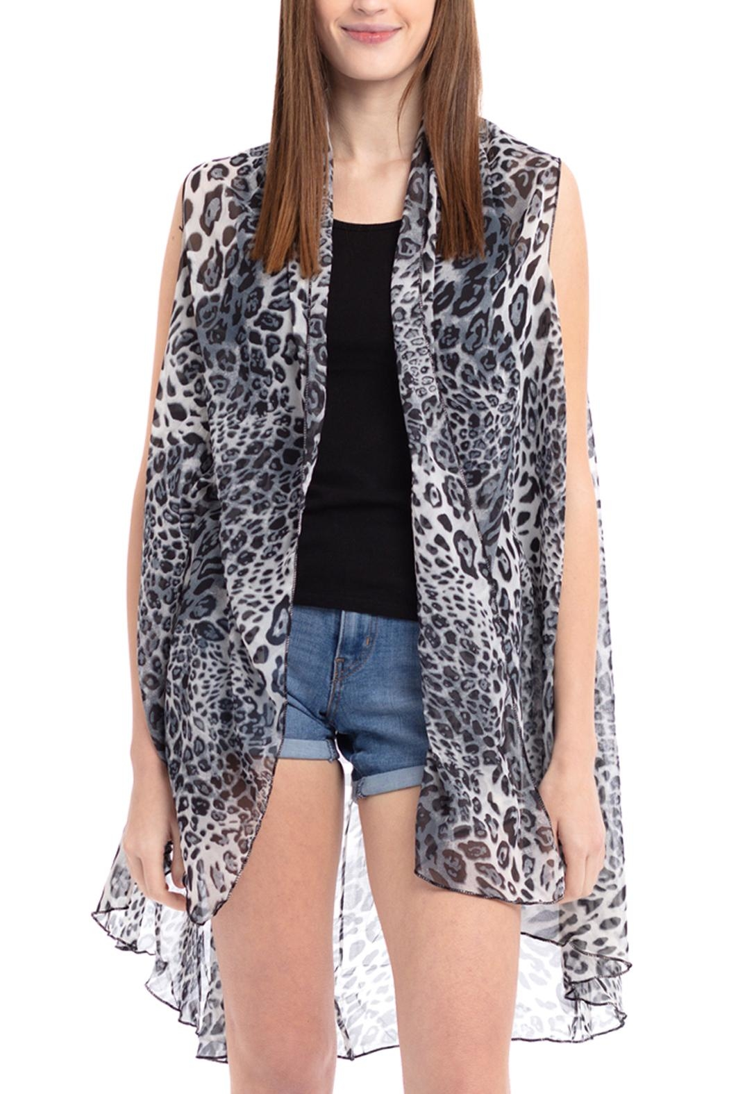 Riah Fashion Mixed Animal Print-Vest - Front Cropped Image