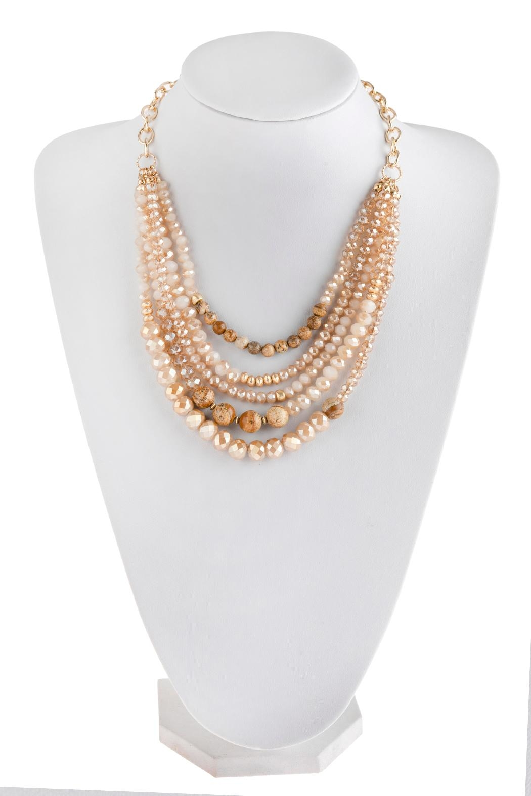 Riah Fashion Mixed-Beads Statement Necklace - Front Cropped Image