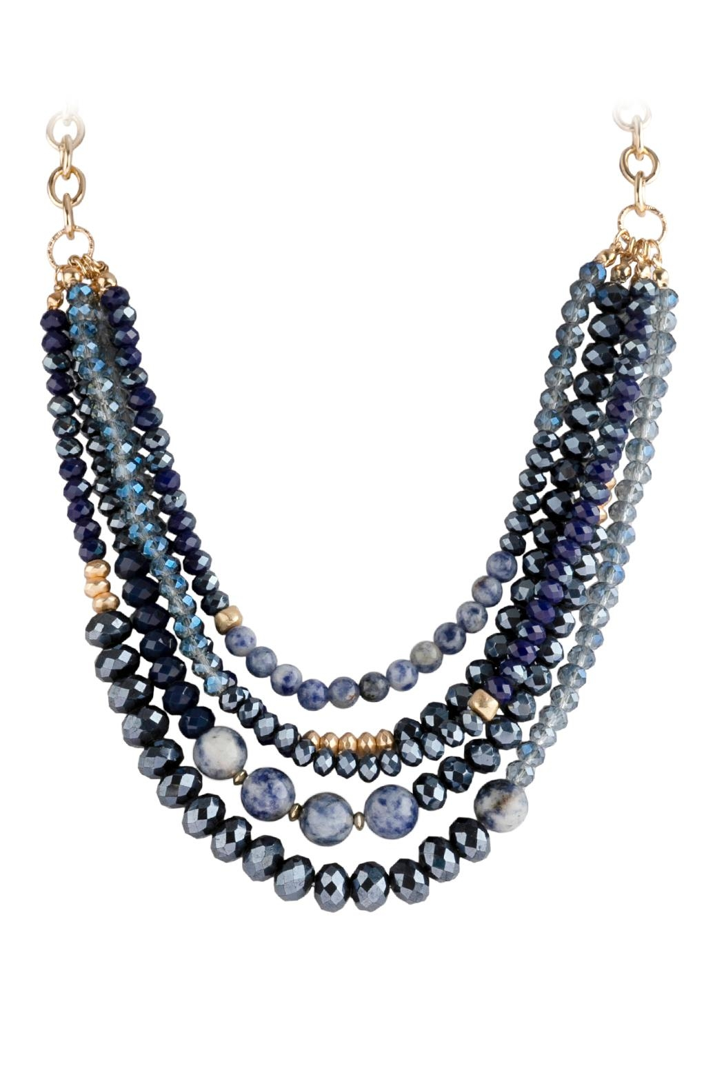 Riah Fashion Mixed-Beads Statement Necklace - Front Full Image