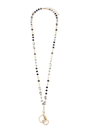 Riah Fashion Mixed-Stone-Beads Lanyard-Necklace - Front cropped