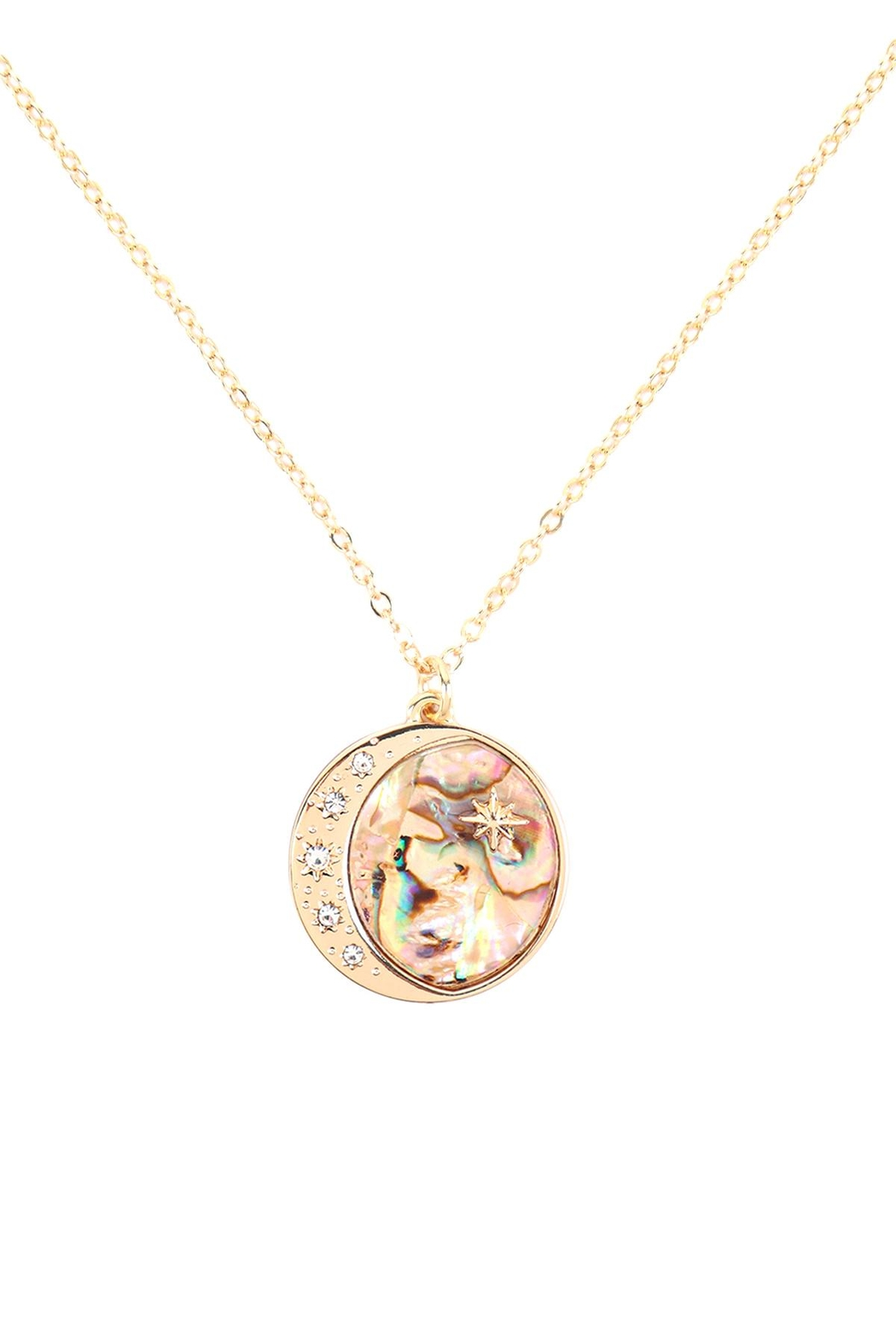 Riah Fashion Moon-And-Star-Coin-Abalone-Pendant-Necklace - Main Image