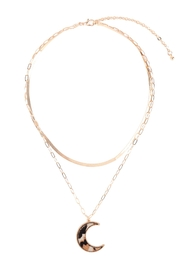 Riah Fashion Moon-Shape-Real-Calf-Hair-Leather-Layered-Necklace - Front full body